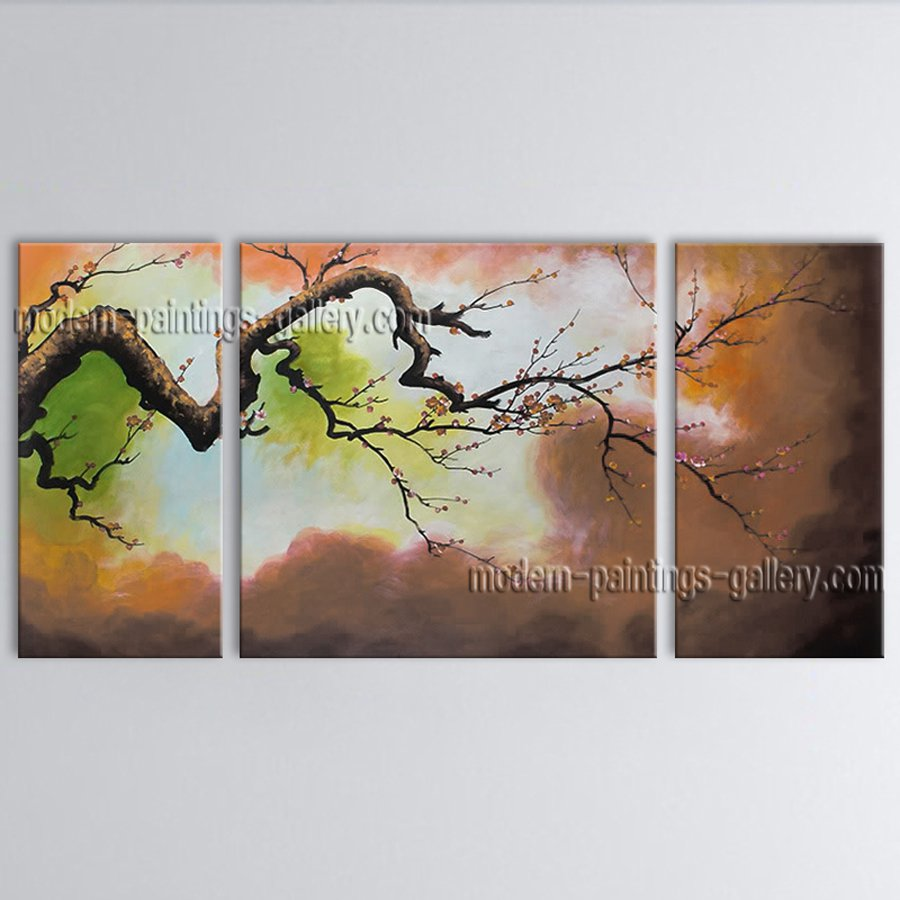 Triptych Contemporary Wall Art Floral Painting Plum Blossom Inner Framed