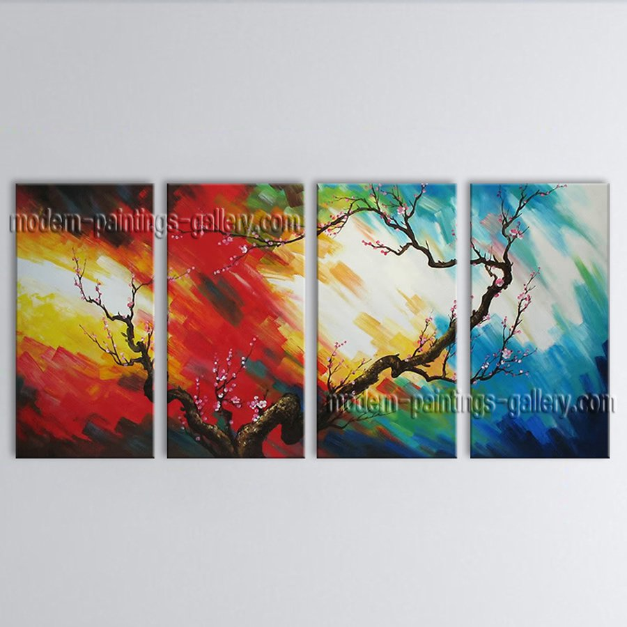 Handmade Large Contemporary Wall Art Floral Painting Plum Blossom Scenery