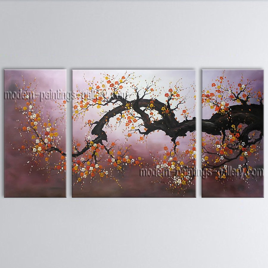 Beautiful Contemporary Wall Art Floral Painting Plum Blossom Inner Framed