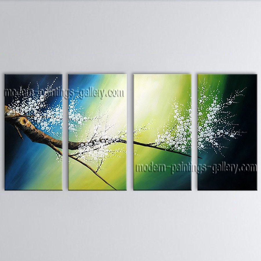 4 Pieces Contemporary Wall Art Floral Painting Cherry Blossom Inner Framed