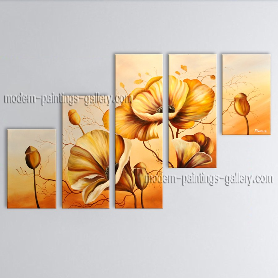 Large Contemporary Wall Art Floral Painting Poppy Flower On Canvas