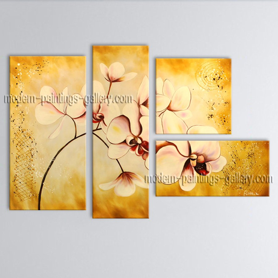 Large Contemporary Wall Art Floral Painting Orchid Contemporary Decor