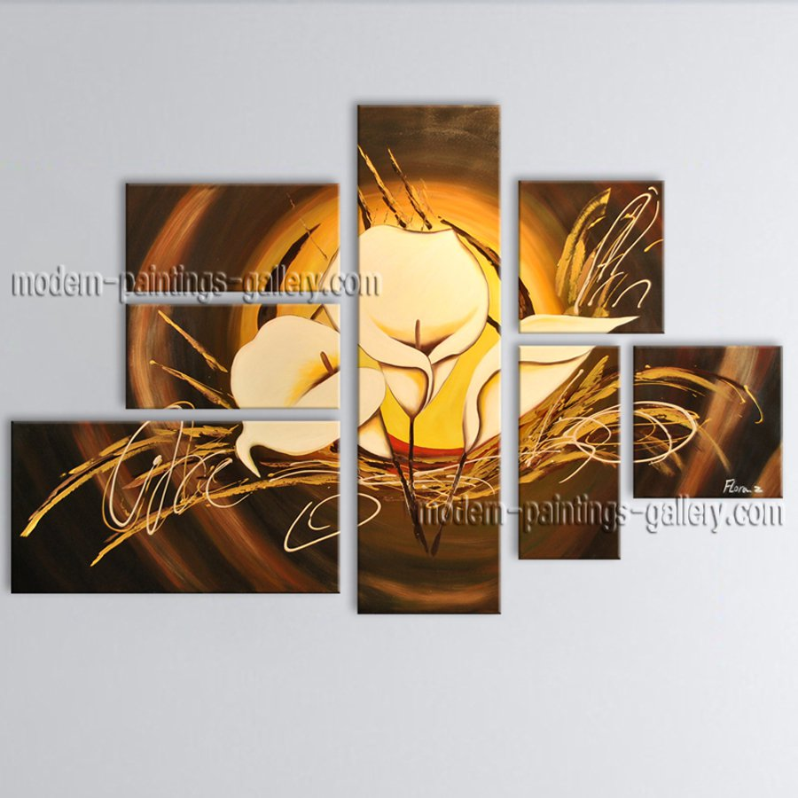 Oversized Contemporary Wall Art Floral Painting Lily Flower On Canvas