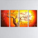 4 Pieces Contemporary Wall Art Floral Painting Cherry Blossom On Canvas