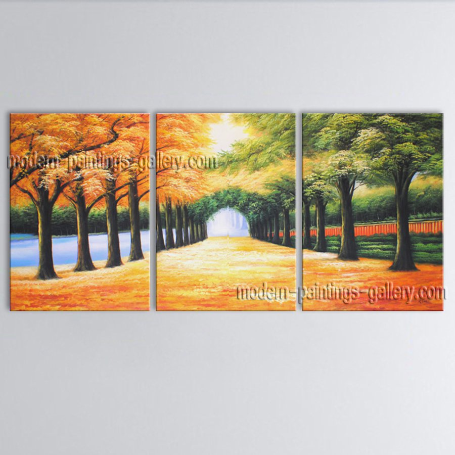 Triptych Contemporary Wall Art Landscape Painting Park Gallery Wrapped