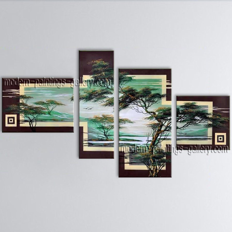 Tetraptych Contemporary Wall Art Landscape Painting Tree Ready To Hang