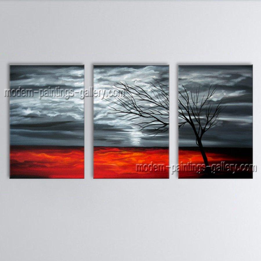 Handmade Triptych Contemporary Wall Art Landscape Painting Interior Design