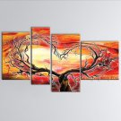 Handmade 4 Pieces Contemporary Wall Art Landscape Painting Tree Scenery