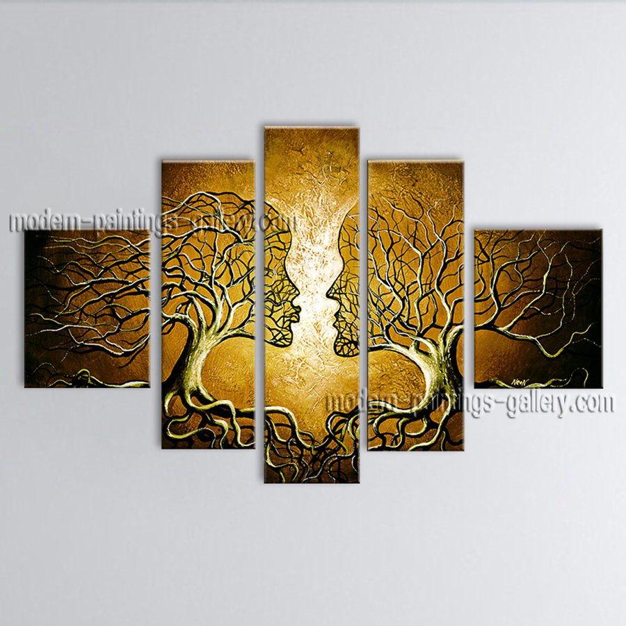 Handmade 5 Pieces Contemporary Wall Art Landscape Painting Tree Scenery