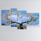 4 Pieces Contemporary Wall Art Landscape Painting Tree Ready To Hang