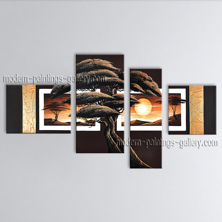 Tetraptych Contemporary Wall Art Landscape Painting Interior Design