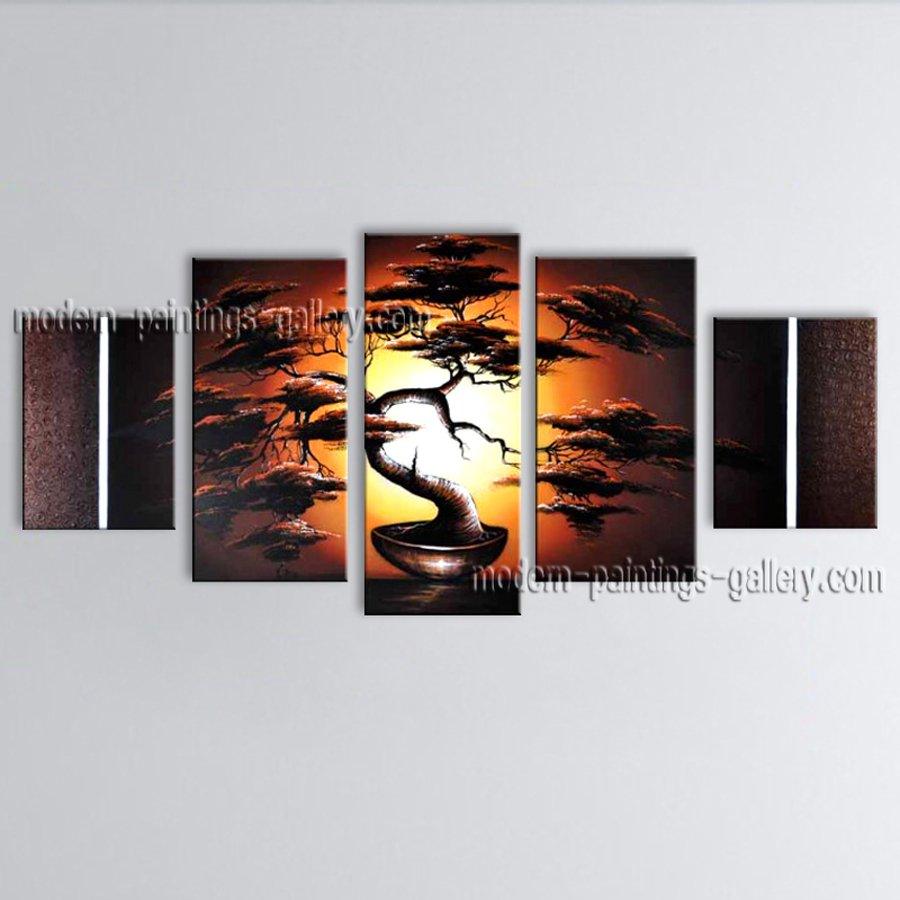Handmade 5 Pieces Contemporary Wall Art Landscape Painting Artwork Images
