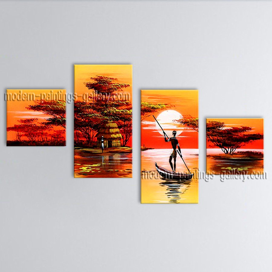 Tetraptych Contemporary Wall Art Landscape Painting Inner Stretched