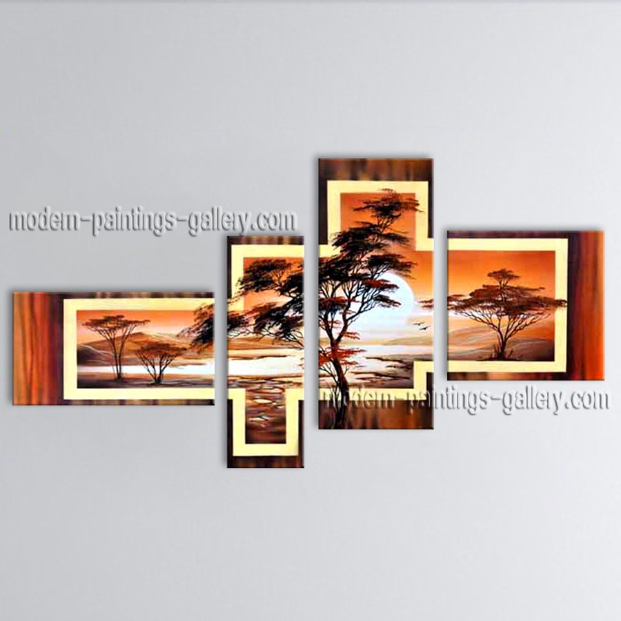 Handmade 4 Pieces Contemporary Wall Art Landscape Painting Interior Design