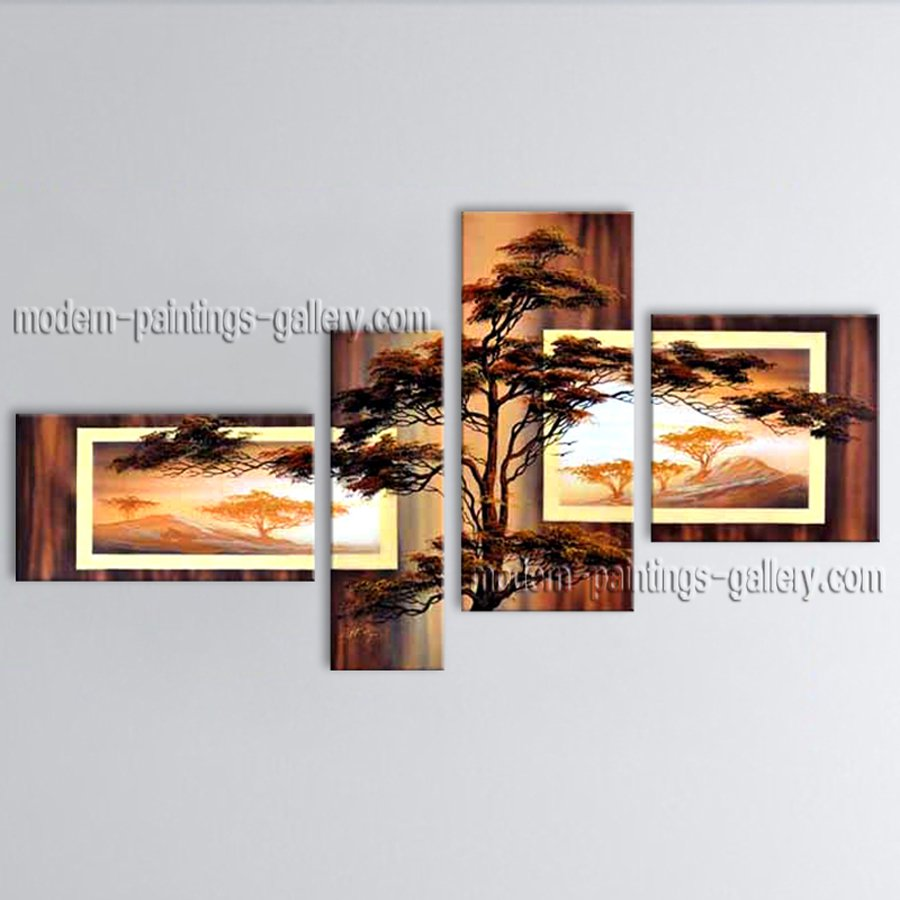 4 Pieces Contemporary Wall Art Landscape Painting On Canvas Artworks