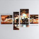 Handmade 4 Pieces Contemporary Wall Art Landscape Painting Gallery Wrapped