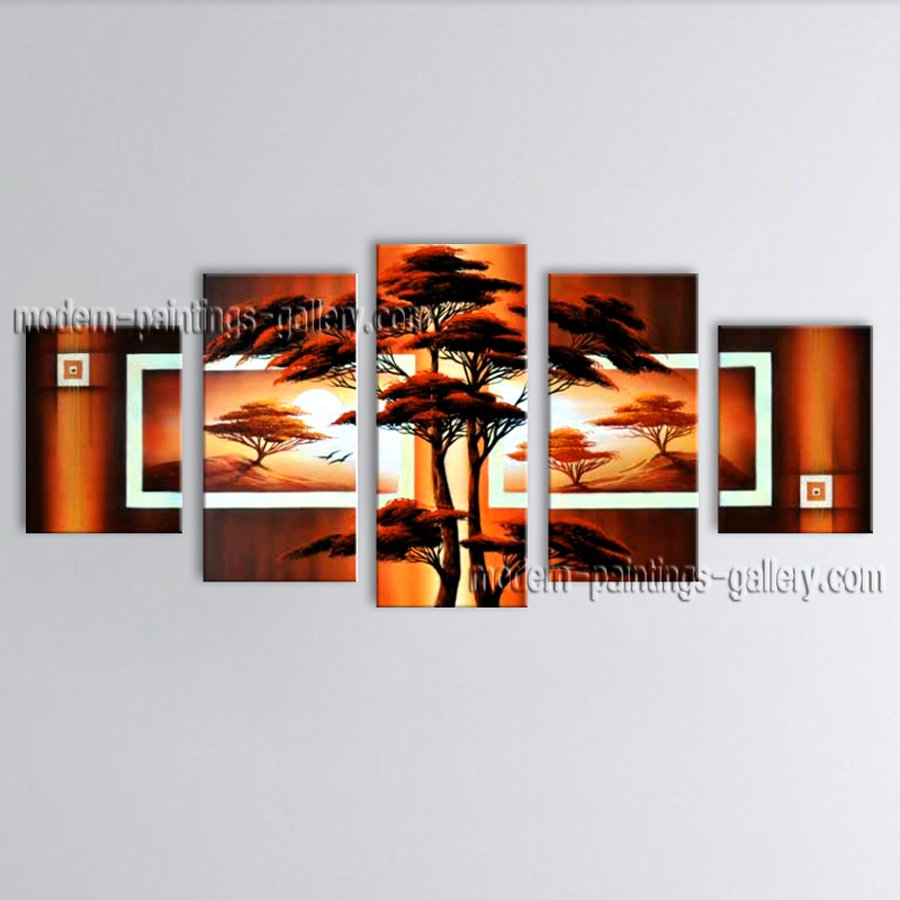 Handmade 5 Pieces Contemporary Wall Art Landscape Painting Oil On Canvas
