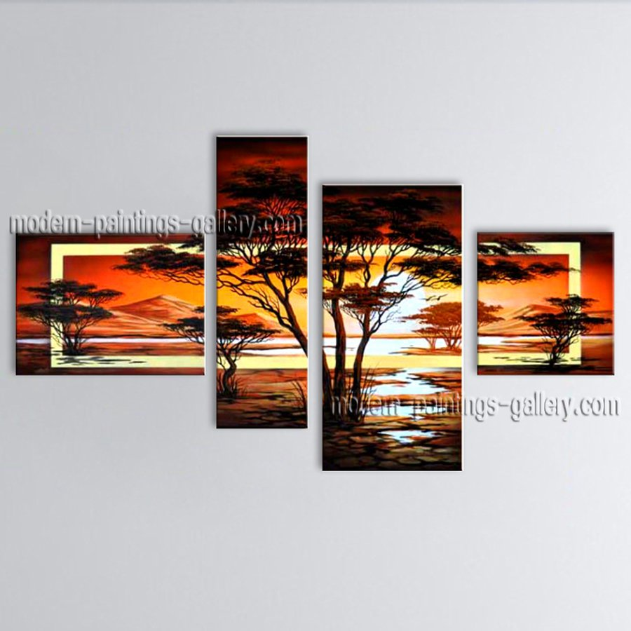 Handmade Large Contemporary Wall Art Landscape Painting Gallery Wrapped