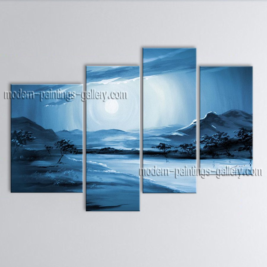 Handmade 4 Pieces Contemporary Wall Art Landscape Painting Africa Scenery
