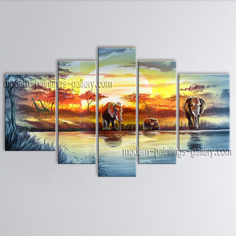 Handmade Pentaptych Contemporary Wall Art Landscape Painting Inner Framed