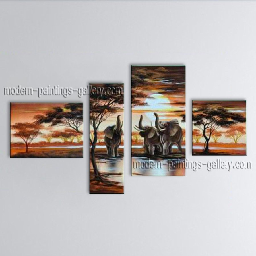 Handmade 4 Pieces Contemporary Wall Art Landscape Painting Ready To Hang