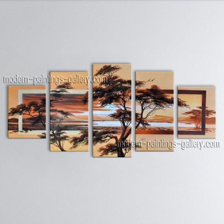 5 Pieces Contemporary Wall Art Landscape Painting Decoration Ideas