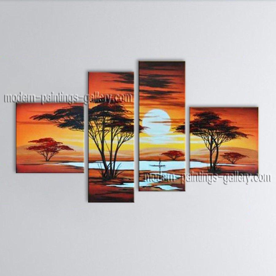 4 Pieces Contemporary Wall Art Landscape Painting Decoration Ideas