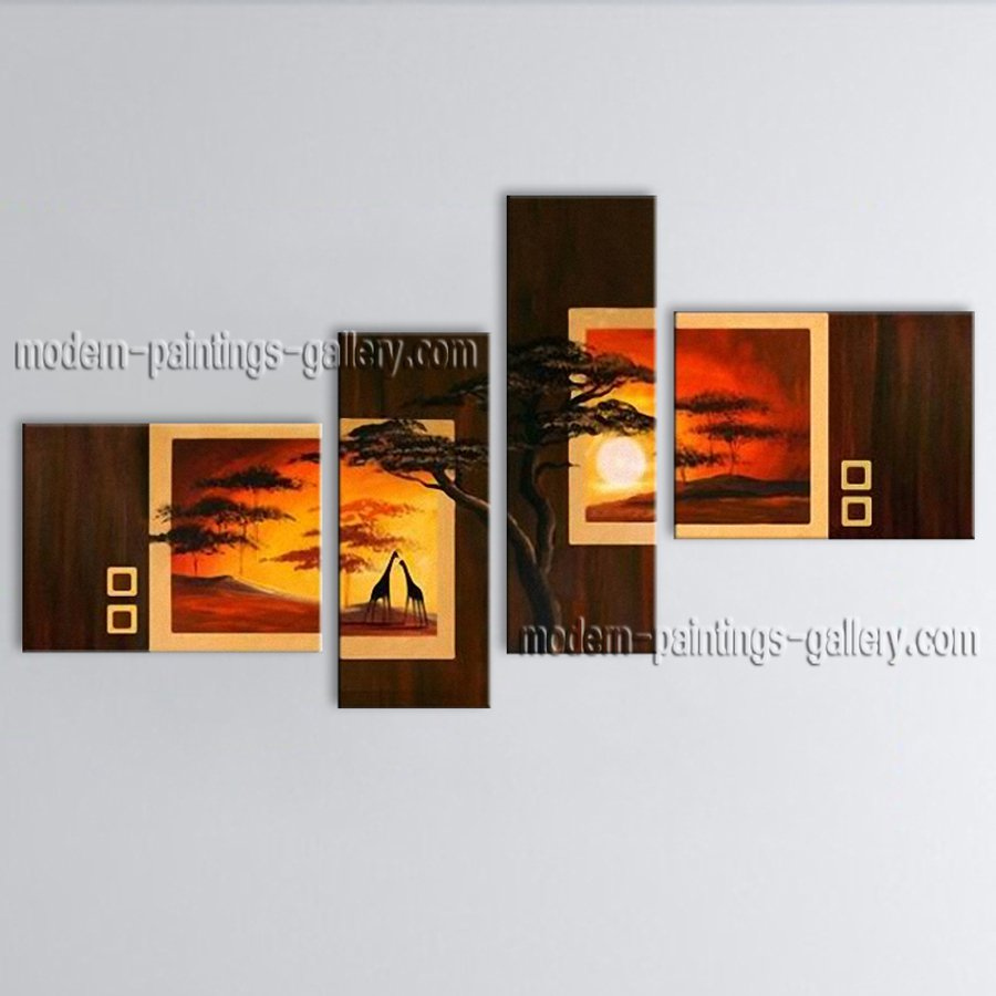 Tetraptych Contemporary Wall Art Landscape Painting Tree Oil On Canvas