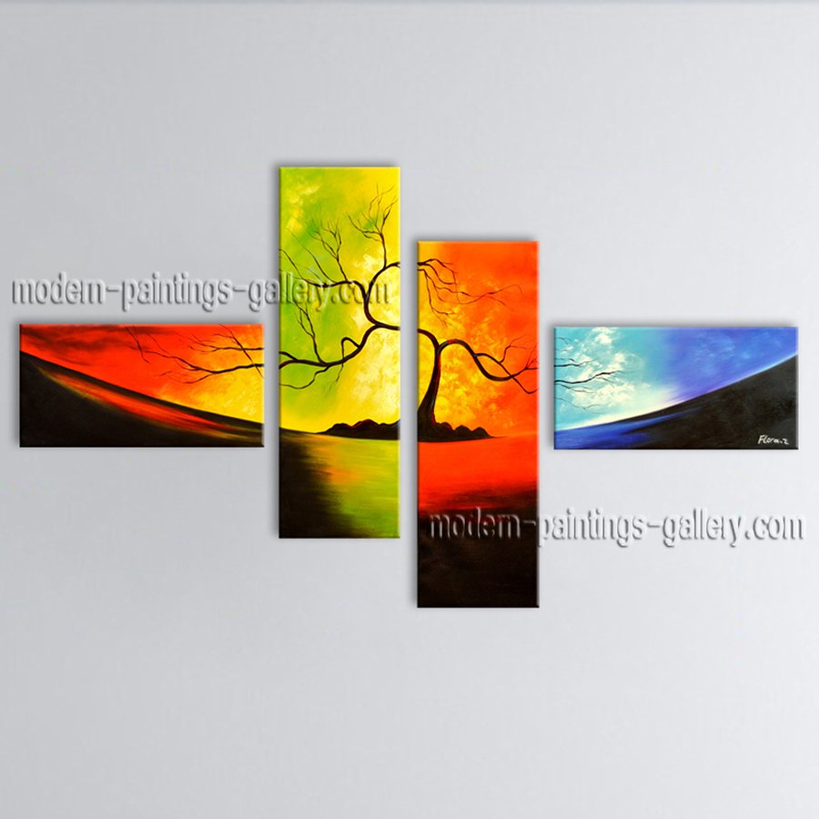 4 Pieces Contemporary Wall Art Landscape Painting Tree Tree Paintings