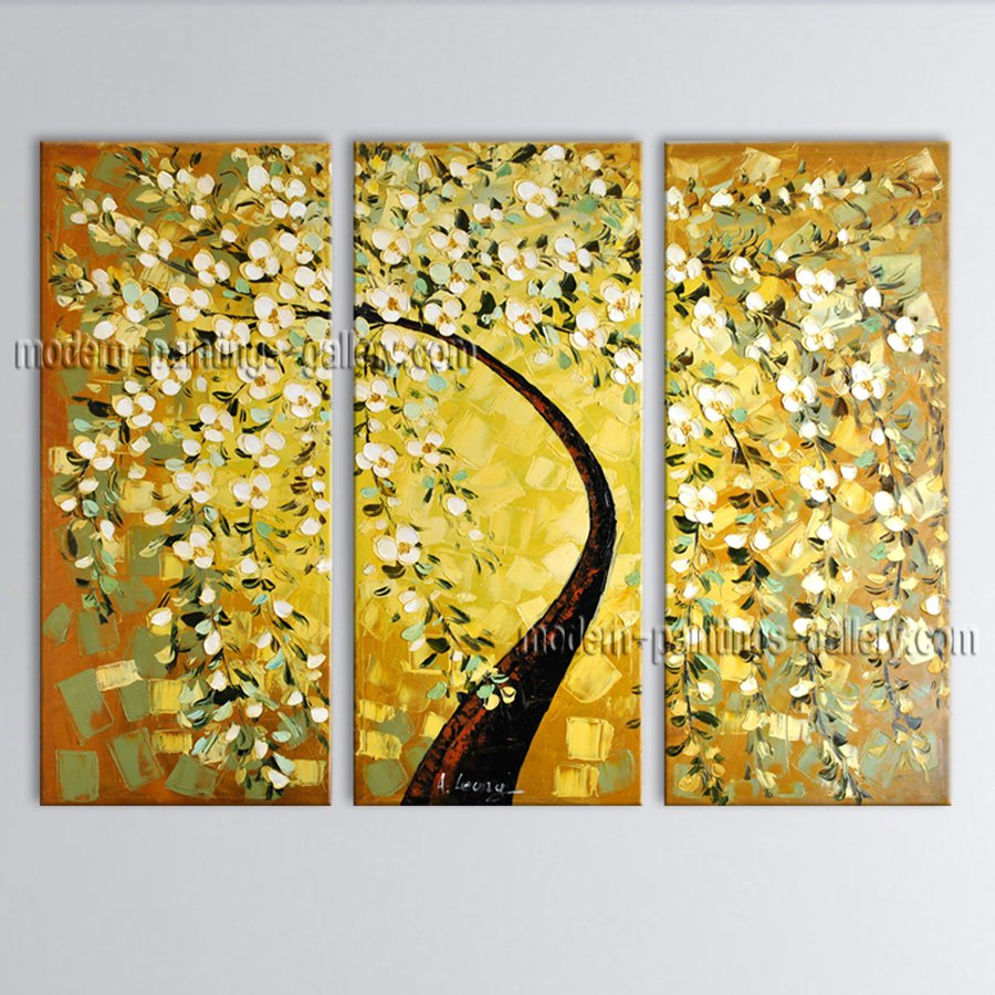 Beautiful Contemporary Wall Art Landscape Painting Tree Oil On Canvas