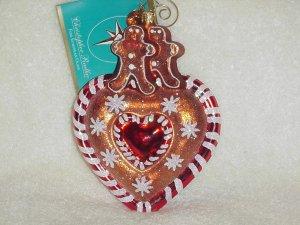Christopher Radko Glass Ornament ~ Ginger Sweet Street Heart & Gingerbread Boys