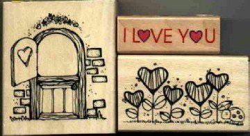 Hearts & Valentines ~ 3 Rubber Stamps ~ NEW