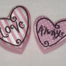 2 Pink White & Black Beaded Heart Boxes