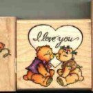 Bears & Hearts ~ 3 Rubber Stamps ~ NEW