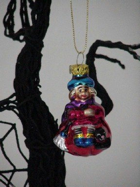 Witch Girl ~ Halloween Blown Glass Ornament