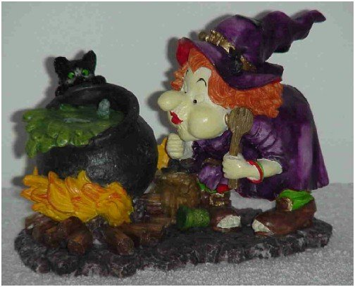 Cute Witch Figurine with Black Cat & Black Pot