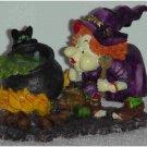 Cute Witch Figurine with Black Cat & Black Pot