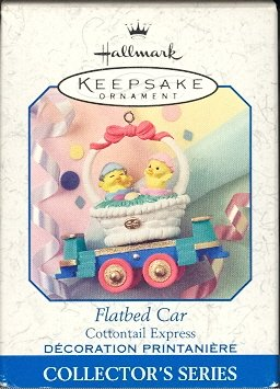 Hallmark Spring Ornament ~ Flatbed Car 1999 ~ Cottontail Express Series