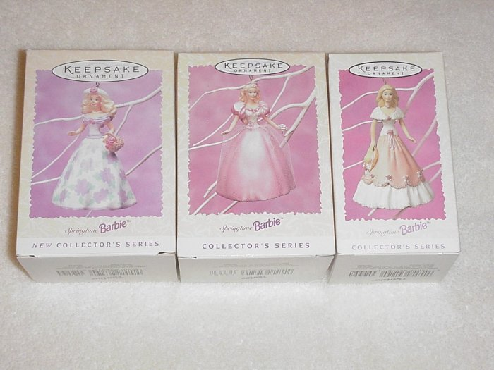 3 Hallmark Spring Ornaments ~ Springtime Barbie Series