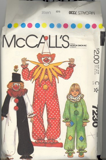 Adult Clown Costumes ~ McCalls Pattern 7230