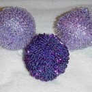3 Lavender / Purple Bead & Sequin Ornaments