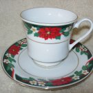 Christmas Teacup & Saucer ~ Tienshan Deck the Halls