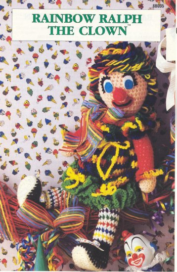 Rainbow Ralph the Clown Crochet Pattern ~ Annies Attic