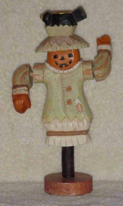 Carved Wood Scarecrow Taper Candle Holder