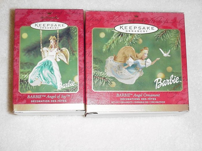 2 Hallmark Ornaments Angel of Joy & Angel Barbie 2000  & 2001
