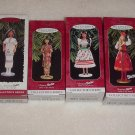 4 Hallmark Ornaments ~ Barbie Dolls of the World Series ~ 1996, 1997, 1998 & 1999