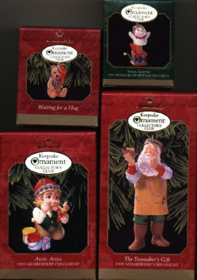 4 Hallmark Ornaments ~ 1999 Membership
