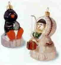 Hallmark Glass Ornament ~ Frosty Friends 2000 ~ set of 2