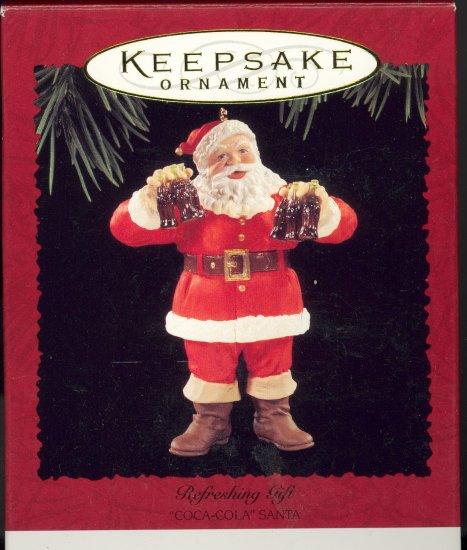Hallmark Ornament ~ Refreshing gift 1995 ~ Santa and a Coke