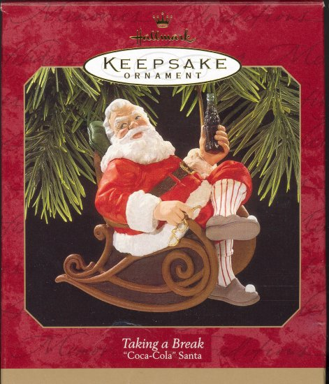 Hallmark Ornament ~ Taking a Break 1997 ~ Santa and a Coke